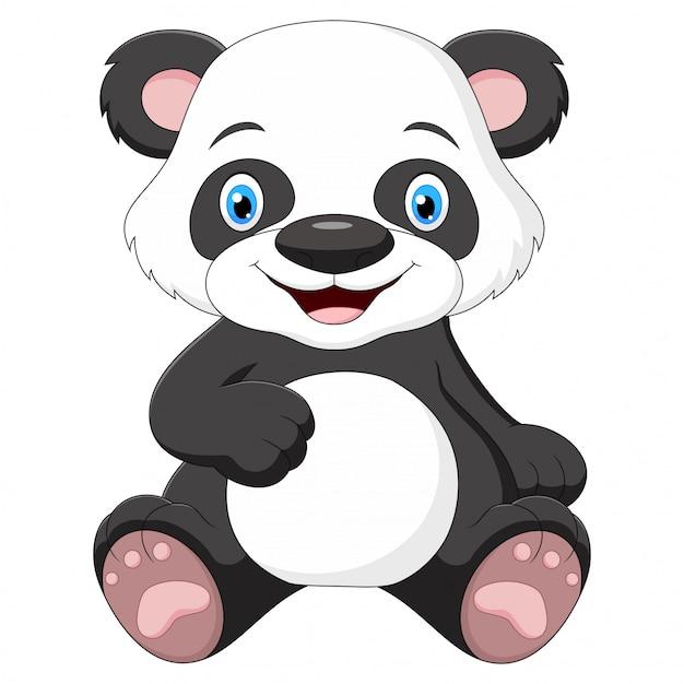 Cute Baby Panda Cartoon Sitting And Smiling Premium Vector