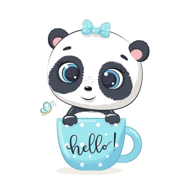Cute Baby Panda In Cup Premium Vector