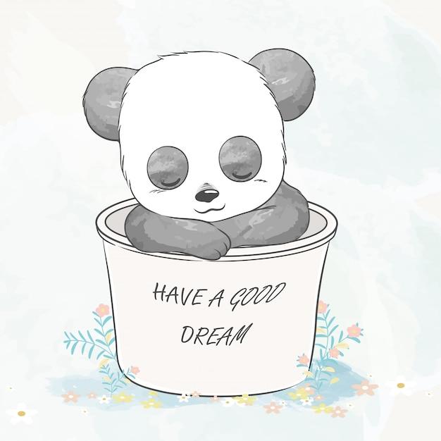 Милый ребенок панда уснул в корзине акварельный мультфильм рисованной иллюстрации Premium векторы