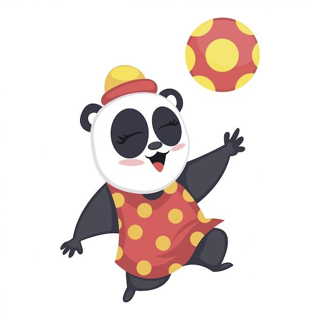 Cute baby panda playing with football Premium Vector