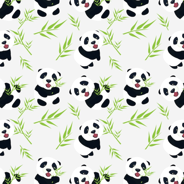 Cute baby panda with bamboo leaves seamless pattern design Premium Vector