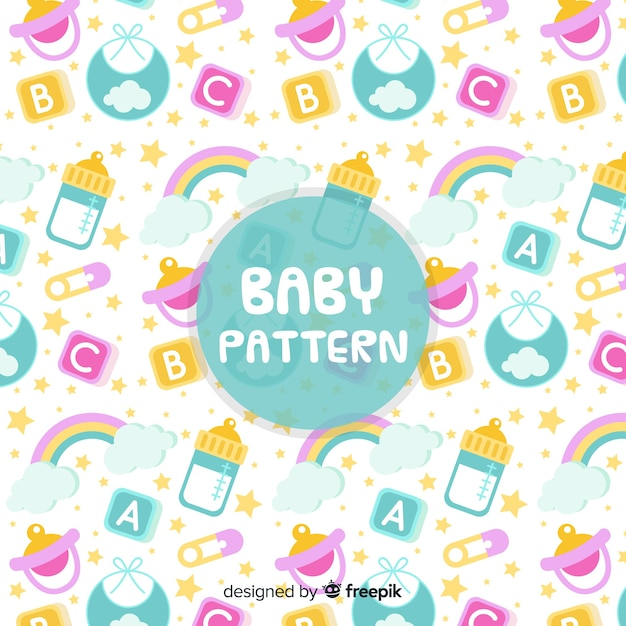 Cute baby pattern Free Vector