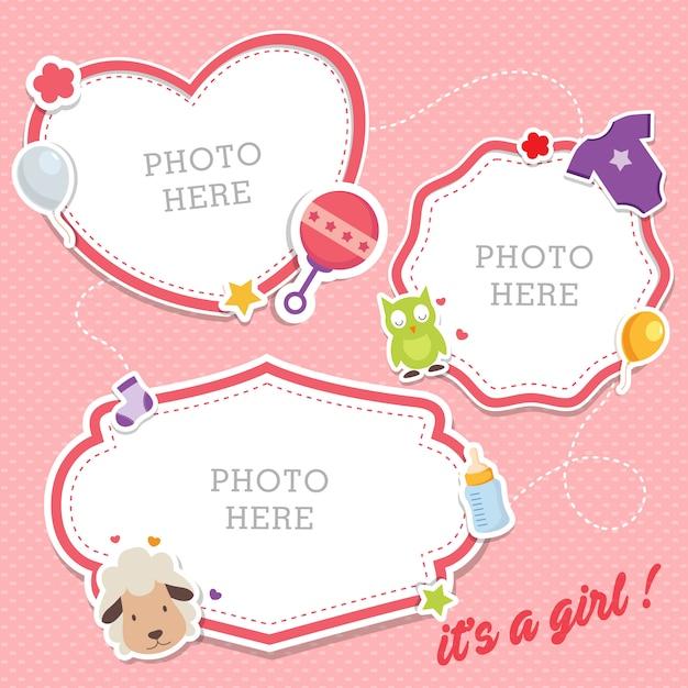 Cute baby photo frames Premium Vector