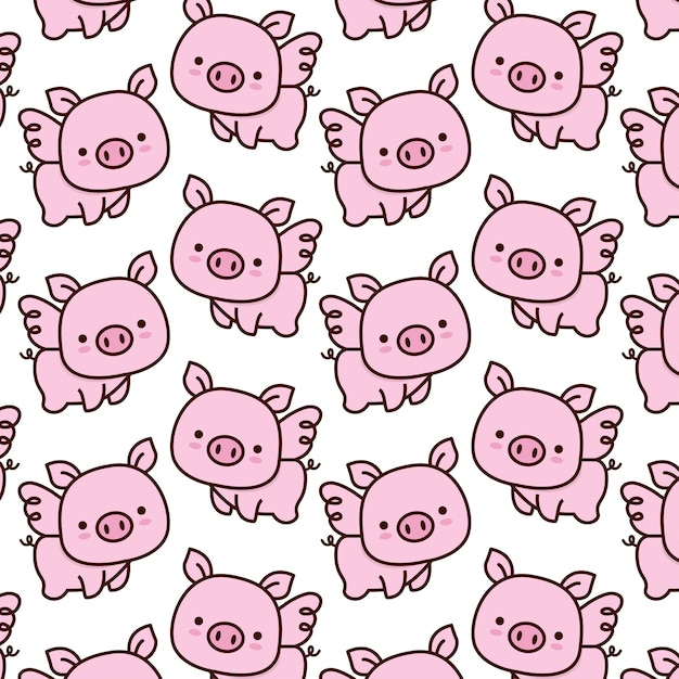 Cute baby pig with wings pattern Premium Vector