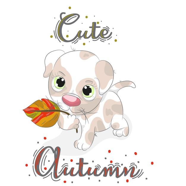 Cute baby puppy with autumn cartoon leaf hand drawn Premium Vector