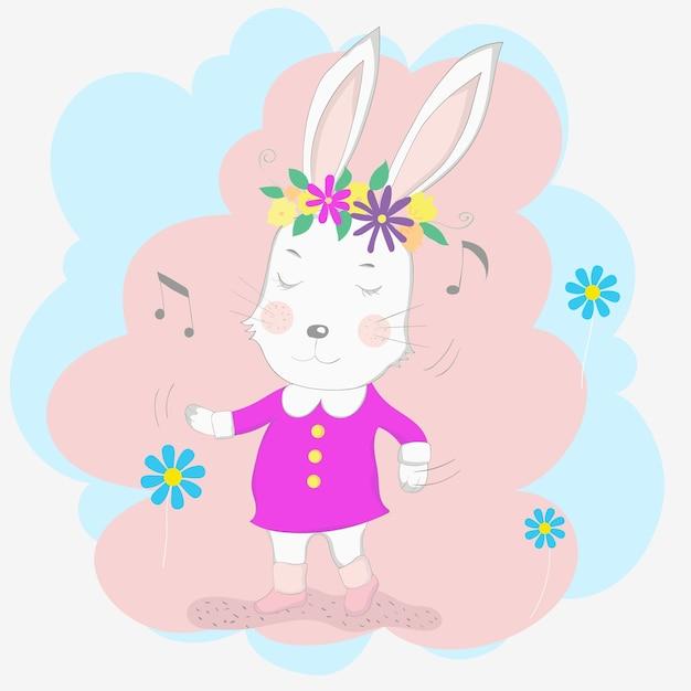 The cute baby rabbit Premium Vector