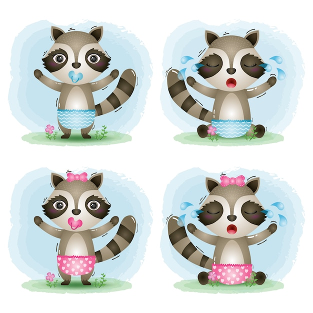 Cute baby raccoon collection in the children's style Premium Vector