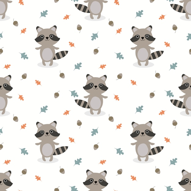 Cute baby raccoon seamless pattern vector. Premium Vector