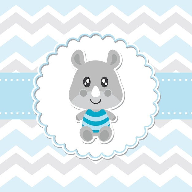 Cute baby rhino smiles on flower frame vector cartoon illustration for baby shower card design,