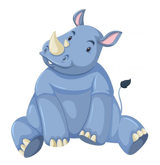 Cute baby rhino white background Free Vector
