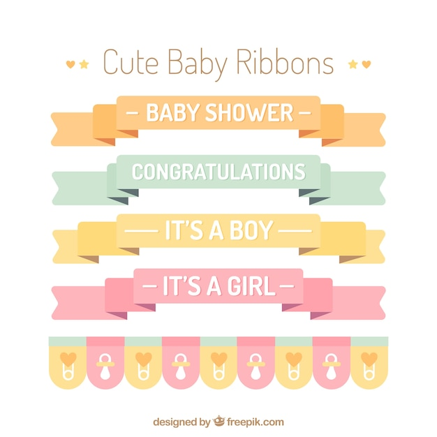 Cute baby ribbons in flat design Vector | Free Download
