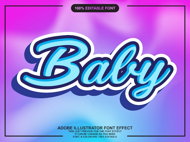 Cute baby script with font effect Premium Vector