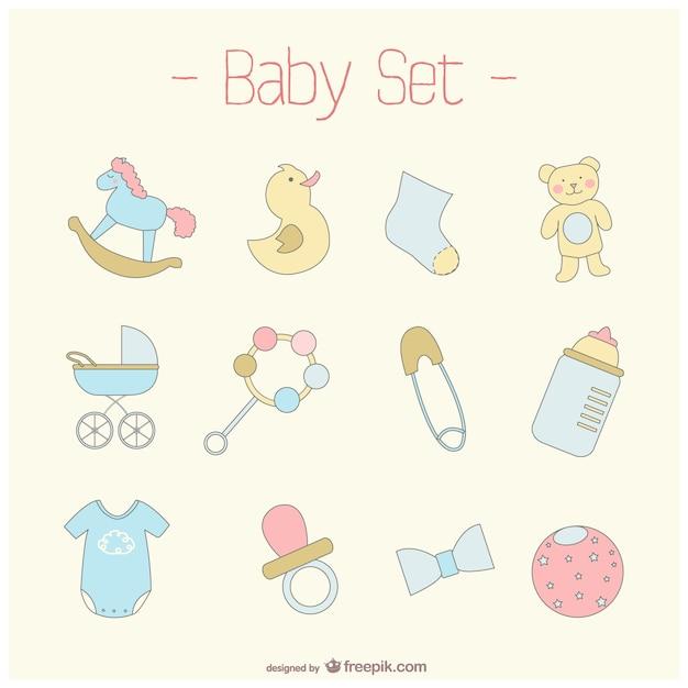 Cute baby set Free Vector