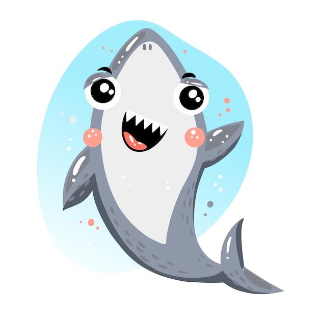 Милая маленькая акула в мультяшном стиле Premium векторы