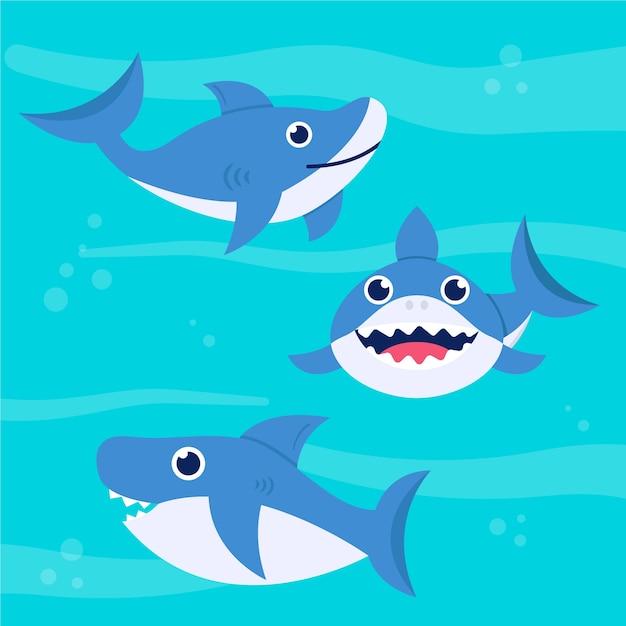 フラットなデザインでかわいい赤ちゃんサメ 無料ベクター