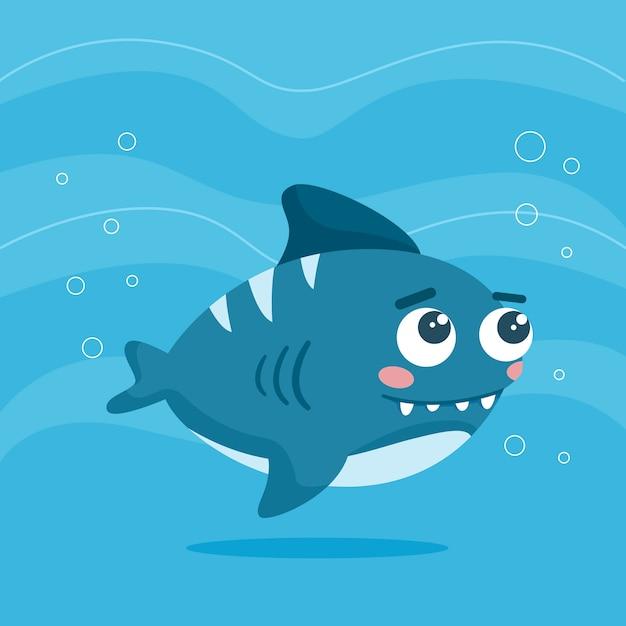 Cute baby shark Free Vector