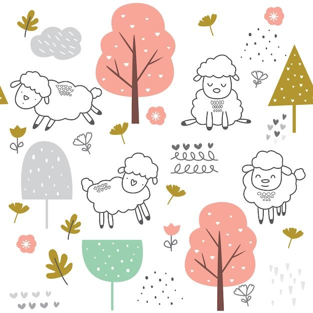 Cute baby sheep seamless pattern Premium Vector