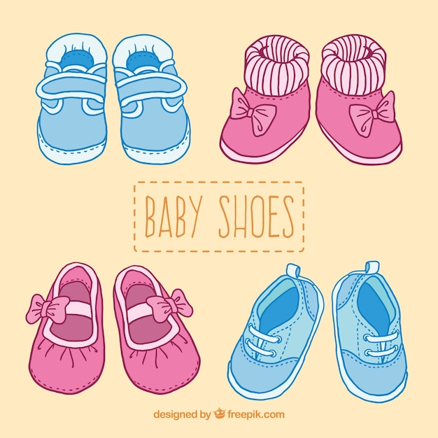 Free Vector Cute Baby Shoes Illustration