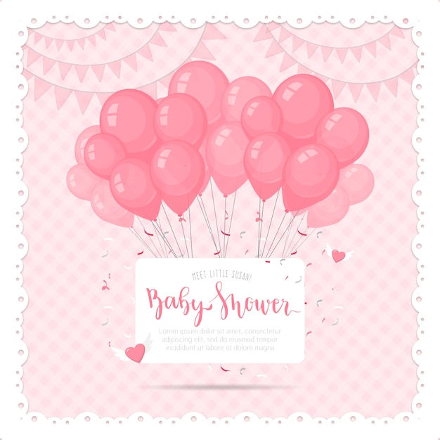 Cute Baby Shower Background With Balloons Premium Vector
