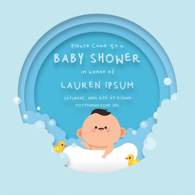 Cute baby shower card  background template Premium Vector