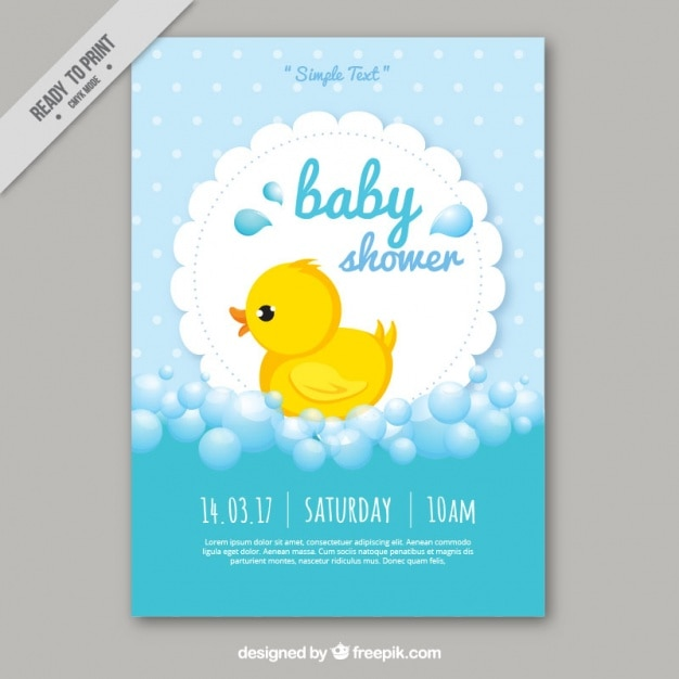 Charming Cute Baby Shower Card Template Free Vector