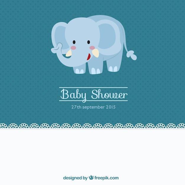 Invitaciones Baby Shower Elefante ~ Cute baby shower card with an elephant vector free download
