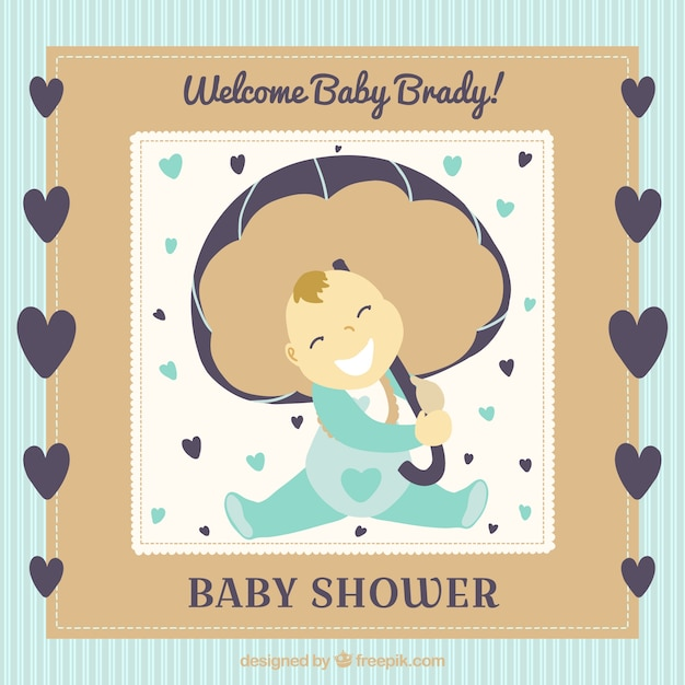 Cute baby shower card with hearts and cute\ baby