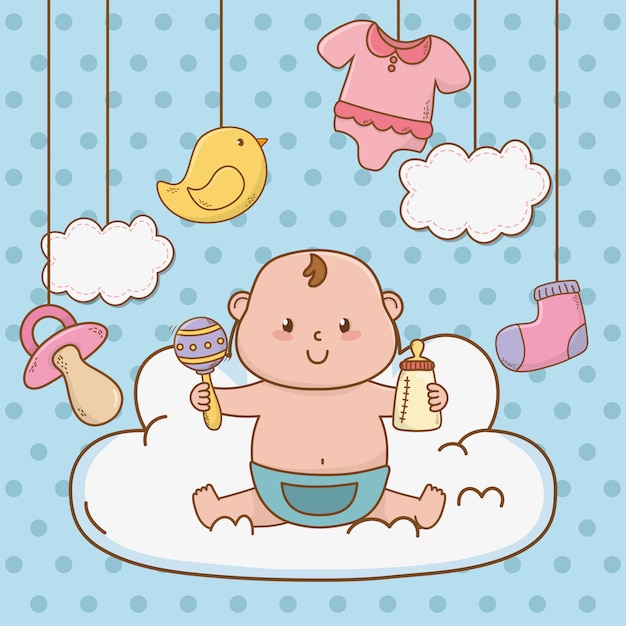 Cute baby shower cartoon Premium Vector