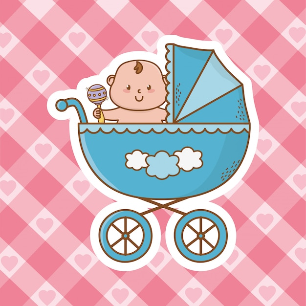 Cute baby shower cartoon Premium Vector