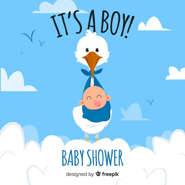 Cute baby shower concept Free Vector