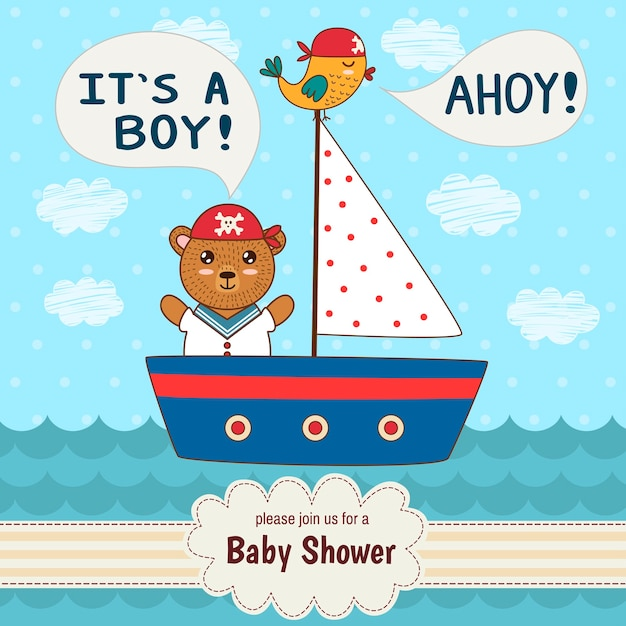 Cute baby shower invitation card it's a boy Premium Vector