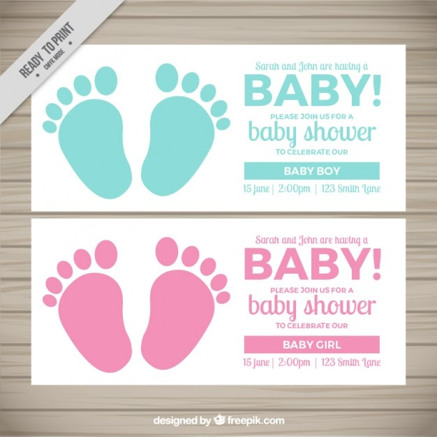 Cute Baby Shower Invitations With Footprints Vector Premium Download