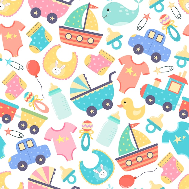 Cute baby shower seamless pattern. colorful newborn background. Premium Vector