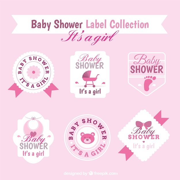 Cute baby shower sticker collection