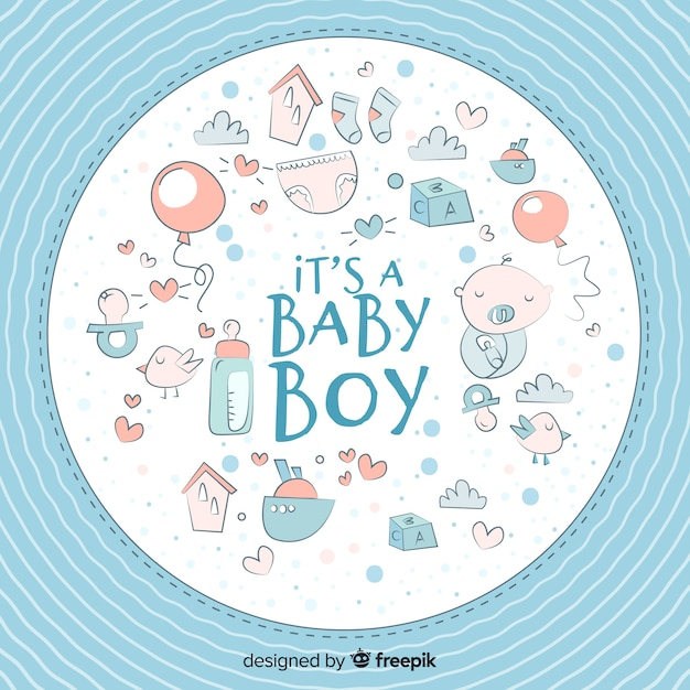 Cute baby shower template for boy Free Vector
