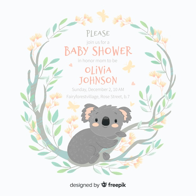 Cute baby shower template with koala Free Vector