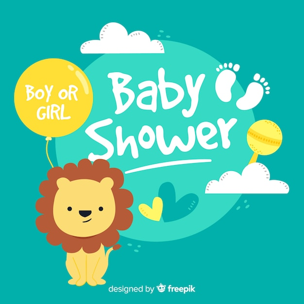 Cute baby shower template Free Vector