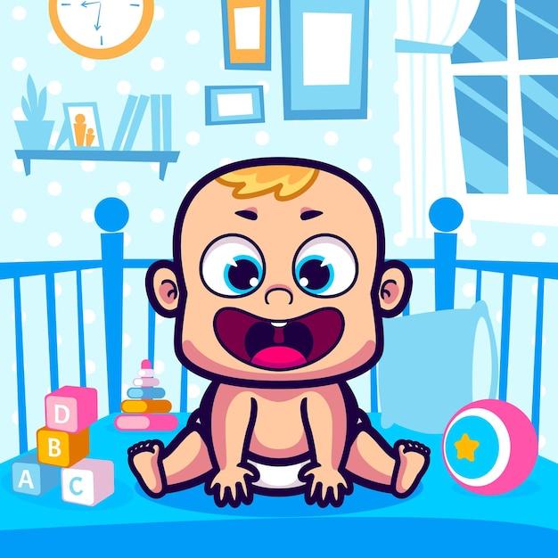 かわいい赤ちゃんはベビーベッドの漫画に座っています Premiumベクター