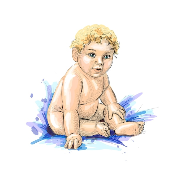 Cute baby sitting from a splash of watercolor, hand drawn sketch.  illustration of paints Premium Vector