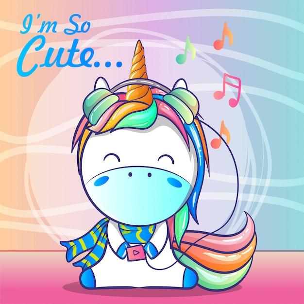 Cute baby unicorn listening music Premium Vector