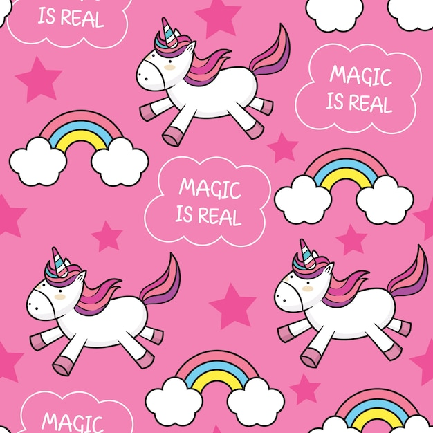 Cute baby unicorn seamless pattern Premium Vector