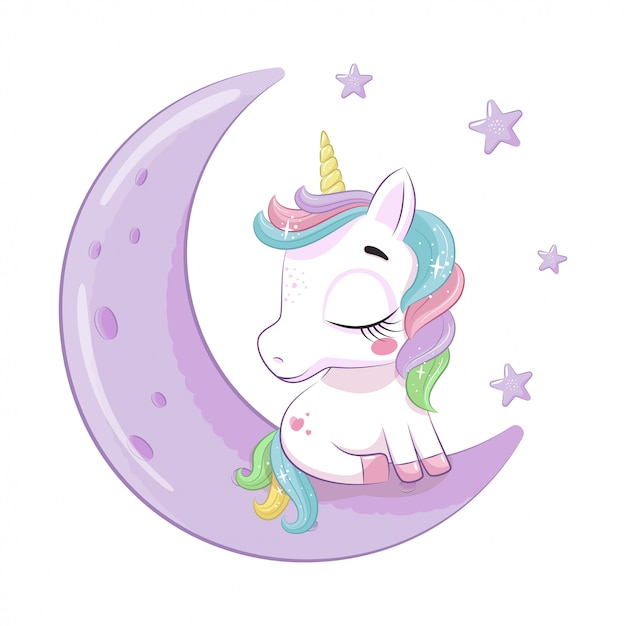 Cute baby unicorn sitting on the moon.  illustration for baby shower, greeting card, party invitation, fashion clothes t-shirt print. Premium Vector