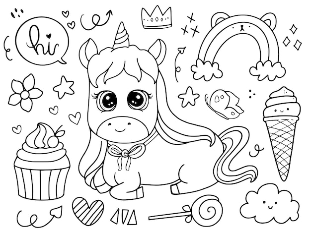 Cute baby unicorn sitting with cupcake doodle drawing coloring page illustration Premium Vector