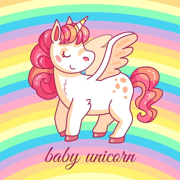 Cute baby unicorn Premium Vector