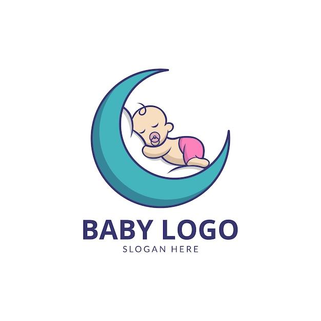 月のロゴのデザインでかわいい赤ちゃん Premiumベクター