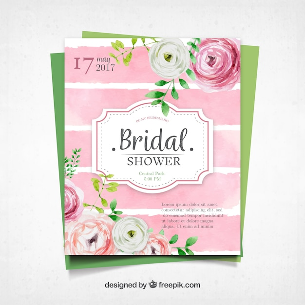 Cute bachelorette invitation with watercolor flowers Free Vector