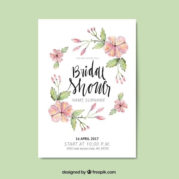Cute bachelorette invitation with watercolor flowers Premium Vector