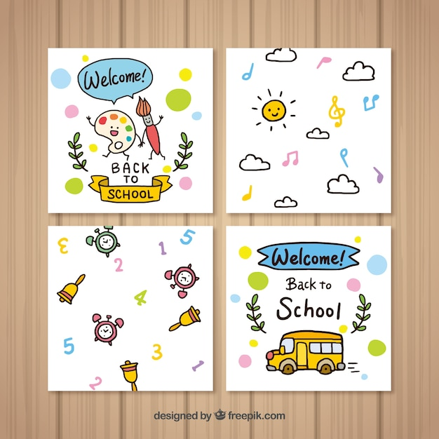 Awe Inspiring Cute Back To School Cards Collection In Hand Drawn Style Free Vector Funny Birthday Cards Online Fluifree Goldxyz