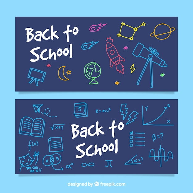 Cute back to school banners with hand drawn elements