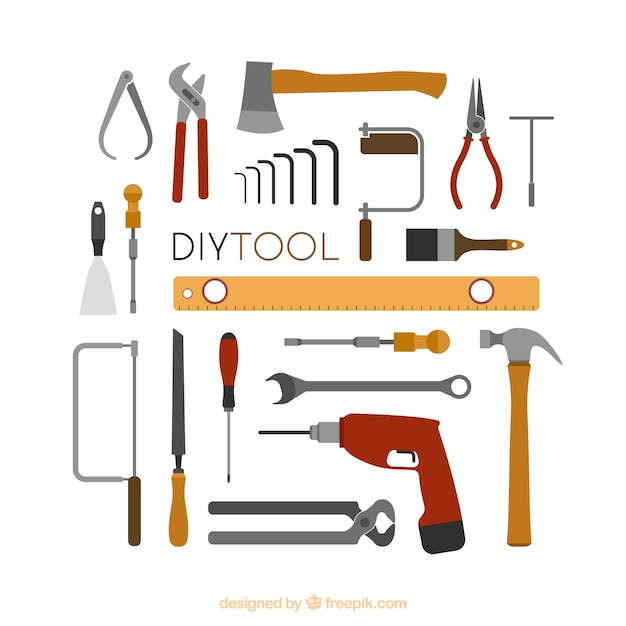 Cute background about carpentry tools Free Vector